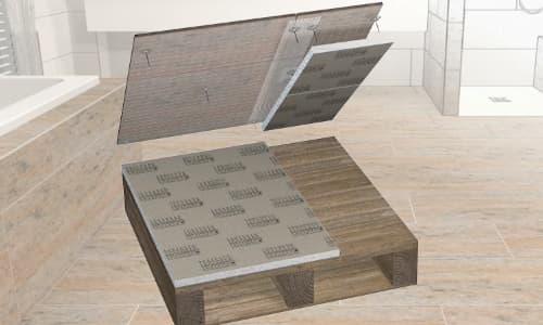 Hardschuim draagelementen op houten vloer